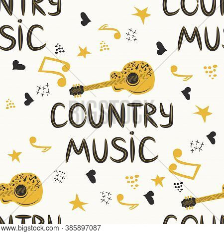 Hand-drawn Musical Seamless Pattern With The Inscription Country Music And Country Guitar, Stars, No