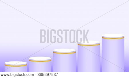 Pedestal Cylinder Circle Five Steps For Cosmetics Showcase, Podium Circle Stage Purple Pastel Soft C