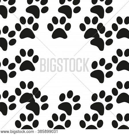 Animal Footprint Seamless Pattern. Black And White Seamless Pattern With Paw Prints, Animal Footprin