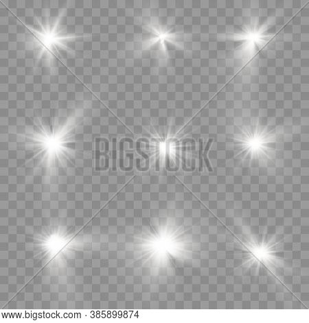 The Star Burst With Brilliance, Glow Bright Star, White Glowing Light Burst On A Transparent Backgro