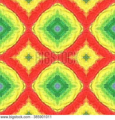 Aztec Rugs. Seamless Tie Dye Illustration. Ikat Turkish Motif. Abstract Shibori Motif. Yellow, Red,