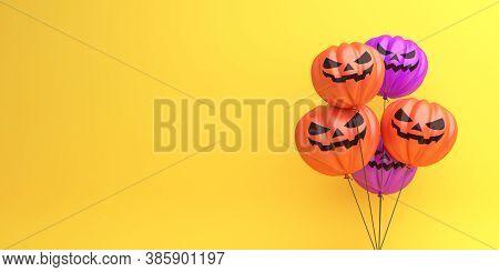 Happy Halloween Decoration Background With Pumpkin Balloons On Orange Background, Banner, Template,