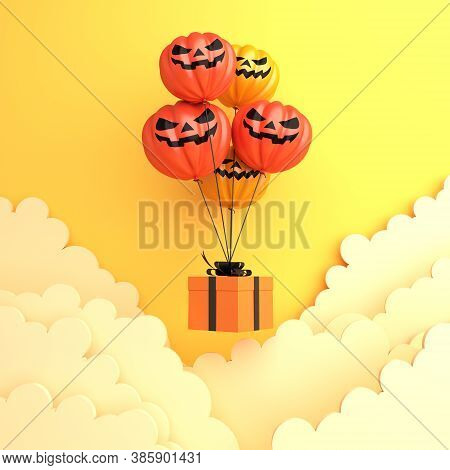 Happy Halloween Decoration Background With Pumpkin Balloon, Gift Box And Clouds On Orange Background