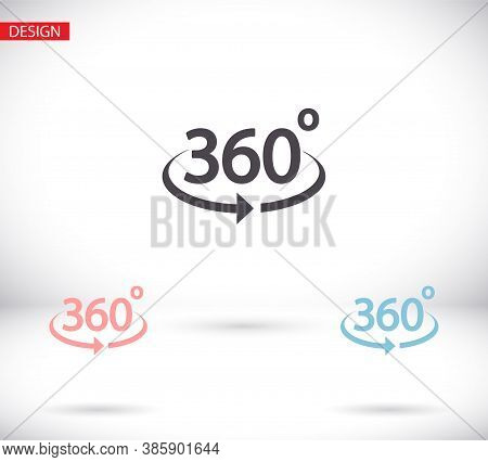 360 Degree View Vector Icon Isolated On White Background Sign Icon 360 Degree Angle. Vector Icon Geo