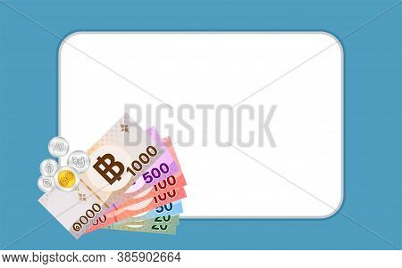Money Banknote Thai Baht On White For Banner, Savings Goal Success Concept, Business And Finance Ide