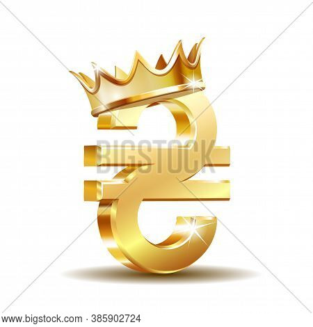 Shiny Gold Ukrainian Hryvnia Currency Sign With Golden Crown. Vector Illustration