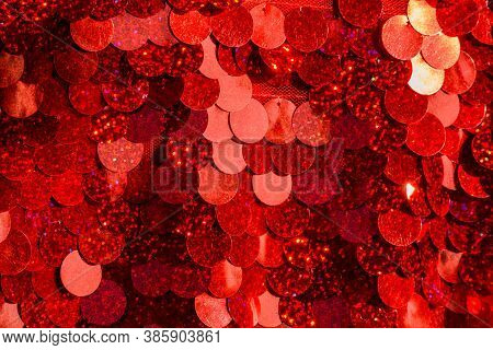 Red Sequins Pattern. Sparkling Sequins Background. Red Sequin Fabric For Background. Rectangular Red