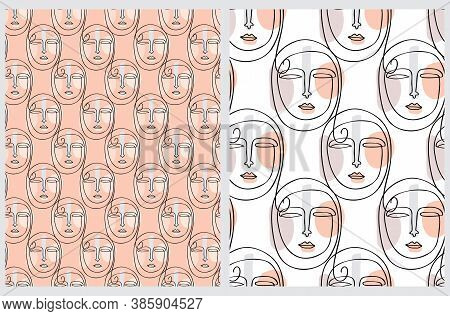 Seamless Vector Patterns With Arab Woman Face Isolated On A Salmon Pink And White Background. Line A