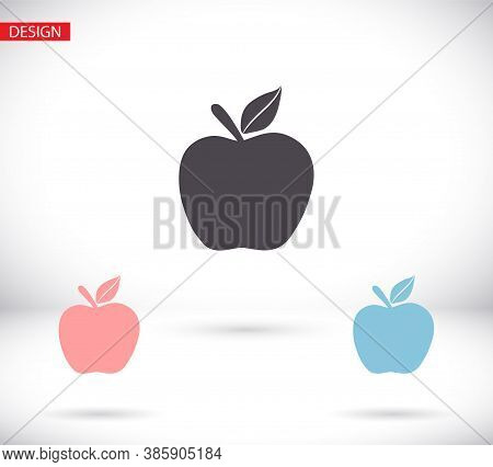 Apple Icon In Trendy Flat Style Isolated On Grey Background. Apple Icon Page Symbol For Your Web Sit