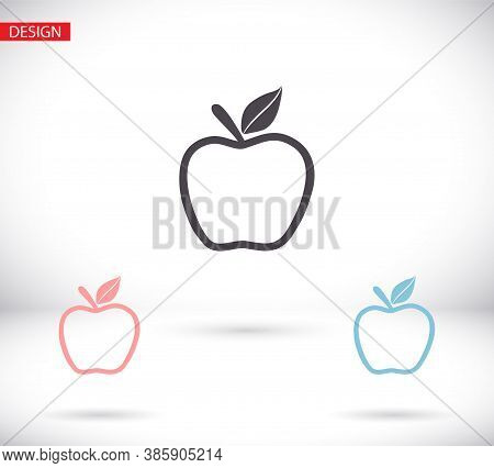 Apple Icon Vector In Trendy Flat Style Isolated On Grey Background. Apple Icon Page Symbol For Your