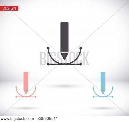 Vector Writing And Vector Icon Painting Tools Icons Set: Pencil, Vector Icon Feather, Fountain Pen,