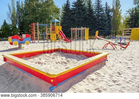 Empty Playground In Sunny Day. Playground For Toddlers And Kids With Nobody There. Kindergarten, Pri