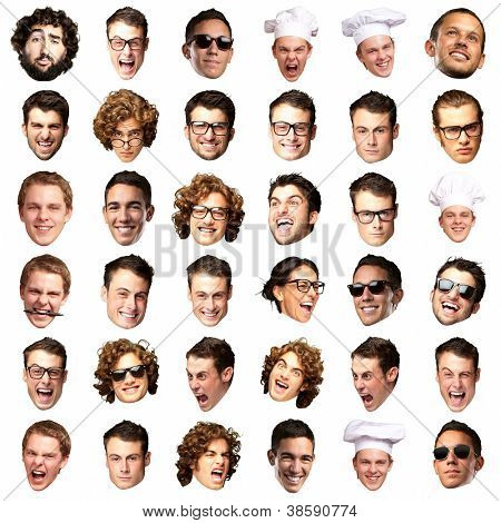 big collection of person faces over white background poster