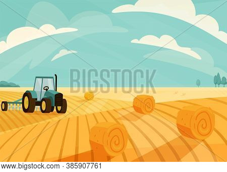 Wheat Field Landscape Vector Illustration After Haymaking With Tractor. Nature Farm Scenery With Gol