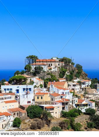 Greece, Kea Tzia Island. Capital City Ioulis, Blue Sky Background, Sunny Day. Vertical
