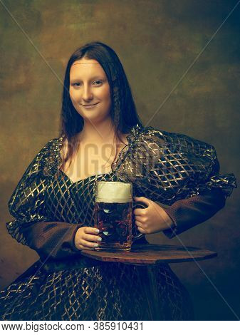 Beer Time. Young Woman As Mona Lisa, La Gioconda Isolated On Dark Green Background. Retro Style, Com