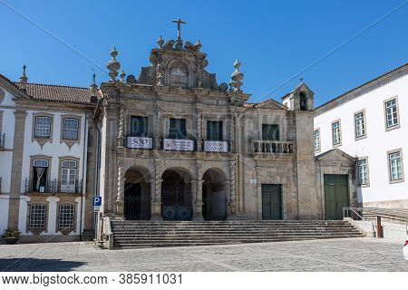 Chaves / Portugal - 08 01 2020: General View Of The Main Exterior Façade Of Classic Building, Church