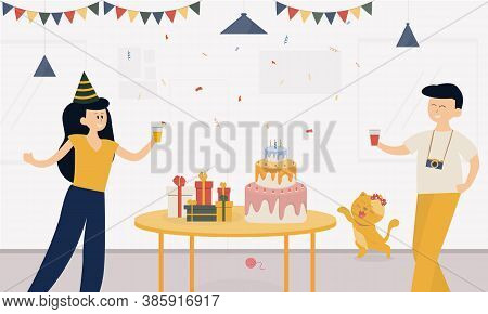 Cartoon Women and men celebrate in the living room at home, women and men holding drinks smiling happy, having cakes and boxes on the table decorated with balloons, A cat playing beside the table .Small Party on holiday. Theme Birthday Christmas New Year