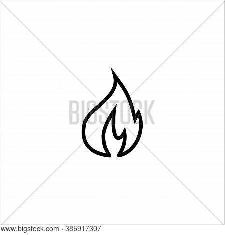 Fire Flame Vector Icon. Logo Design. Black Outline Isolated On A White Background. Design Element Fo
