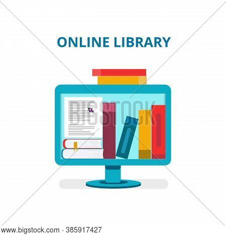 Online Library. Laptop Screen With Books. Online Reading, Internet Bookstore, E-library, Remote Trai