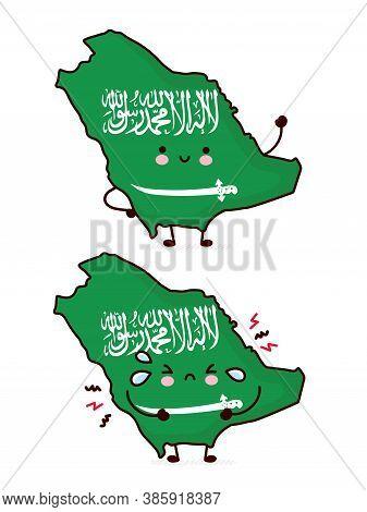 Cute Happy And Sad Funny Saudi Arabia Map And Flag Character. Vector Flat Line Cartoon Kawaii Charac