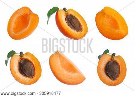 Set Of Cut Ripe Apricots On White Background