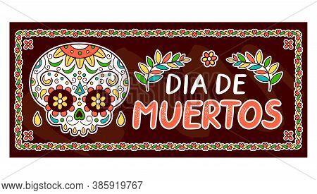 Mexican Day Of The Dead, Dia De Muertos Concept. Vector Flat Line Cartoon Kawaii Character Illustrat