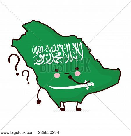 Cute Happy Funny Saudi Arabia Map And Flag Character With Question Marks. Vector Flat Line Cartoon K
