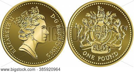 Vector British Money Coin One Pound With Heraldic Lion, Unicorn, Shield And Crown On Reverse