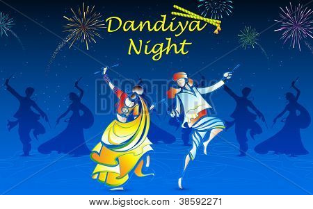 illustration of people playing dandiya in navratri