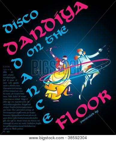 illustration of couple playing garba in disco dandiya poster