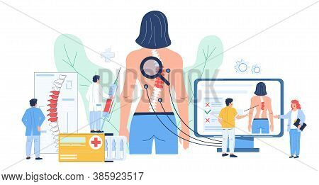 Osteopathy, Spine Disease Diagnosis. Doctor Osteopath Exam, Consultation, Flat Vector Illustration.