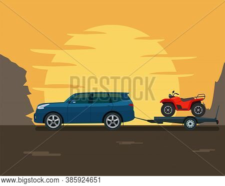 Suv Car Tows A Trailer With A Atv Against The Backdrop Of The Setting Sun And Mountains. Vector Flat