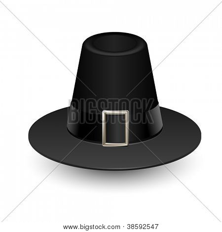 Pilgrim hat on white, Thanksgiving symbol, vector