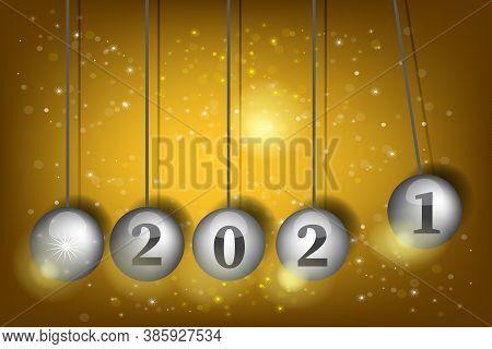 3d Vector Pendulum Newton S Cradle. New Year S Eve 2021. Pendulum Balls. Realistic Vector Illustrati