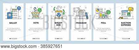 Election. Political Party Candidate Program, Poll Results, Expenses. Mobile App Screens, Vector Webs