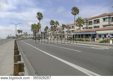 Carlsbad Boulevard Palms And Businesses In Carlsbad California.