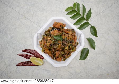Top View Of Indian Curry Aloo Bhindi Or Alu Bhindi Sabzi Home Made, Cooked At Home With Indian Masal