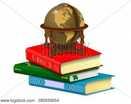 Vintage Globe On A Stack Of Books. Learning And Travel Concept Isolated On White Background.