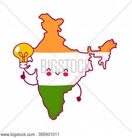 Cute Happy And Sad Funny India Map And Flag Character With Idea Light Bulb. Vector Flat Line Cartoon