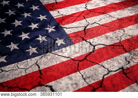 Flag Of America With Cracked Vintage Texture, Abstract Background