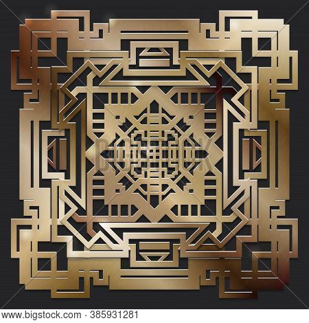 Retro Ornate Pattern For Old Party Gatsby Style. Art Deco Geometric Gold Background.