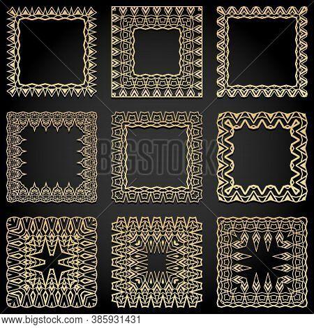 Square Frames Collection. Trendy Golden Art Deco Style Design Elements. Retro Geometric Lines Isolat