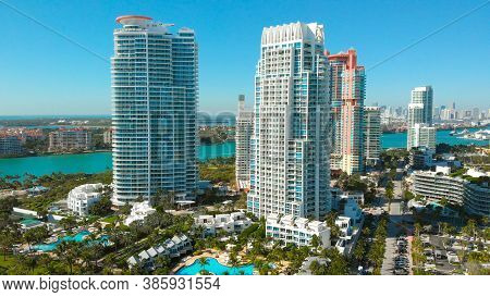 Aerial View Of Skyscrapers In Miami Beach. Drone View Of Miami Beach, Hotels And Skyscrapers Near So