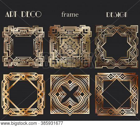 Art Deco Frame Template For Wedding Invitation Card. Set Designs.