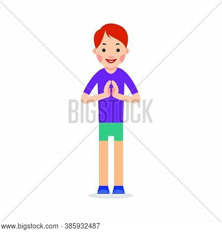 Young Woman Standing And Makes Greeting With His Hands Together To Prevent Transmission Of Viruses.