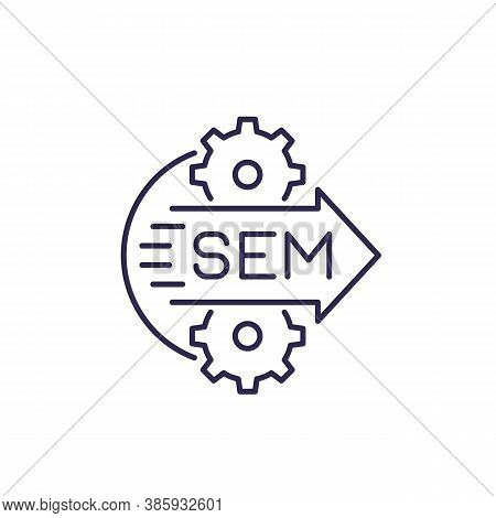 Sem Icon, Search Engine Marketing, Line Vector, Eps 10 File, Easy To Edit