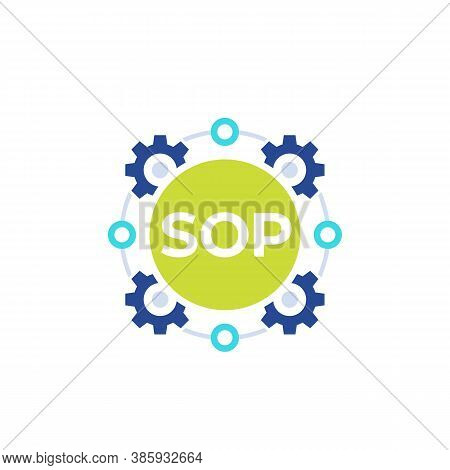 Sop Icon, Standard Operating Procedure, Flat Vector, Eps 10 File, Easy To Edit