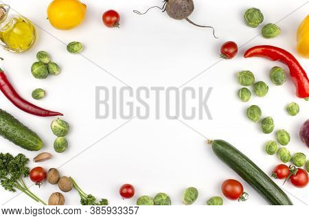 Homemade Vegetables. Fresh Organic Vegetables. Vegetables From The Garden. Colorful Vegetable. Healt