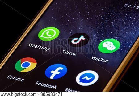 Close Up View Of Tiktok And Wechat Logo, App Icon Displayed On A Smartphone, Trump Banned And Blocke